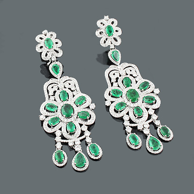 Designer Jewelry: Chandelier Emerald Earrings w Diamonds 6.44ct 10.58