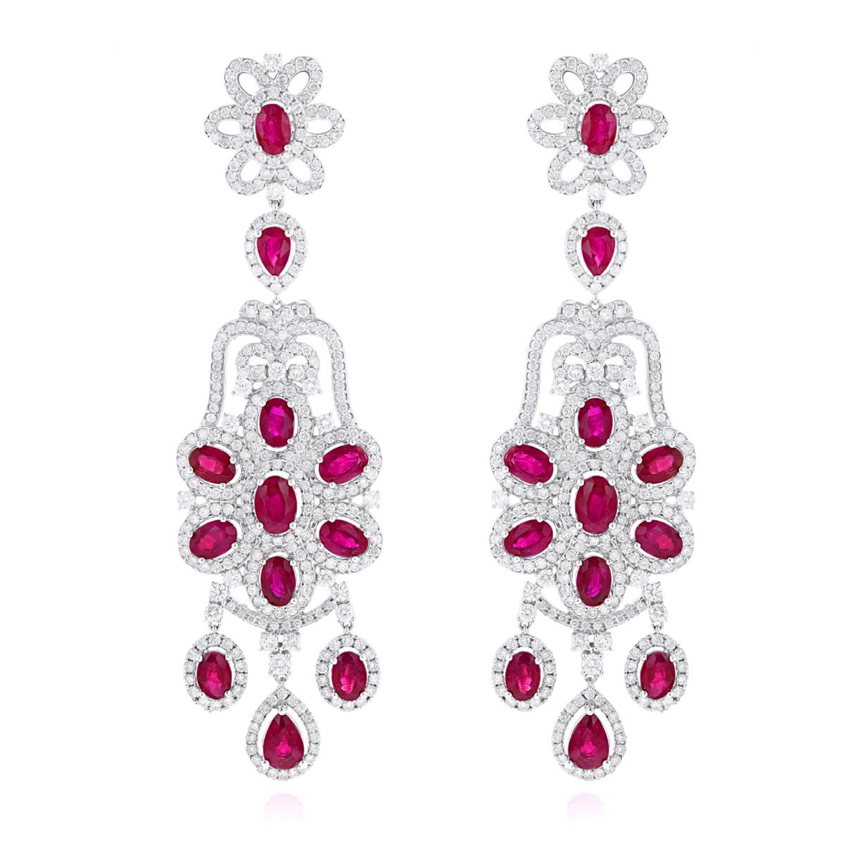 Designer Jewelry: Chandelier Ruby Diamond Earrings By Luxurman 14K Gold