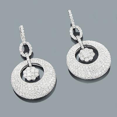 Designer Jewelry: Diamond Circle Earrings 10.10ct 18K Gold