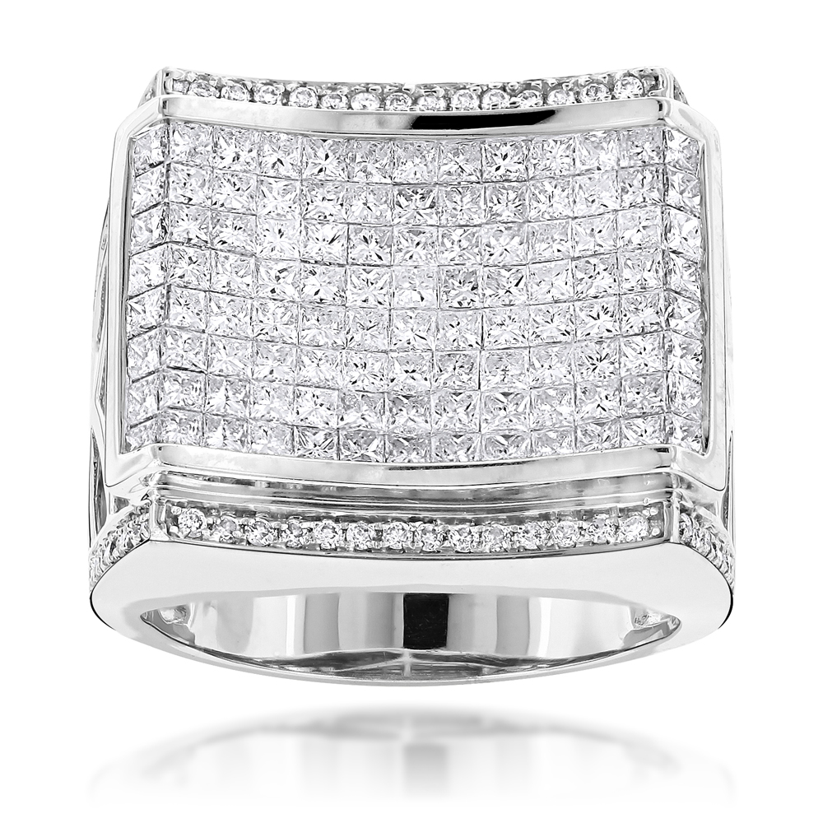 Designer Jewelry for Men: Round Princess Cut Diamond Ring 4.34ct 14K