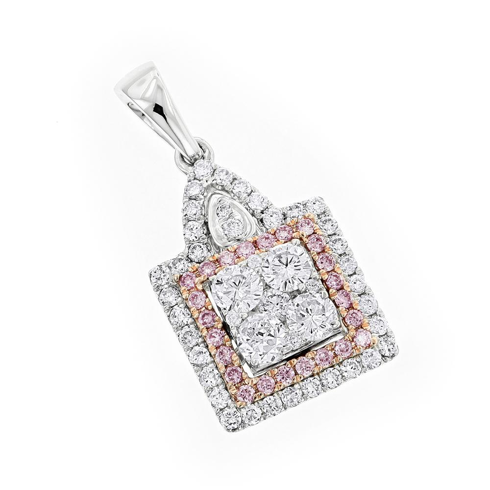 Designer Jewelry: Ladies White and Pink Diamond Pendant 14K Gold 1.2ct
