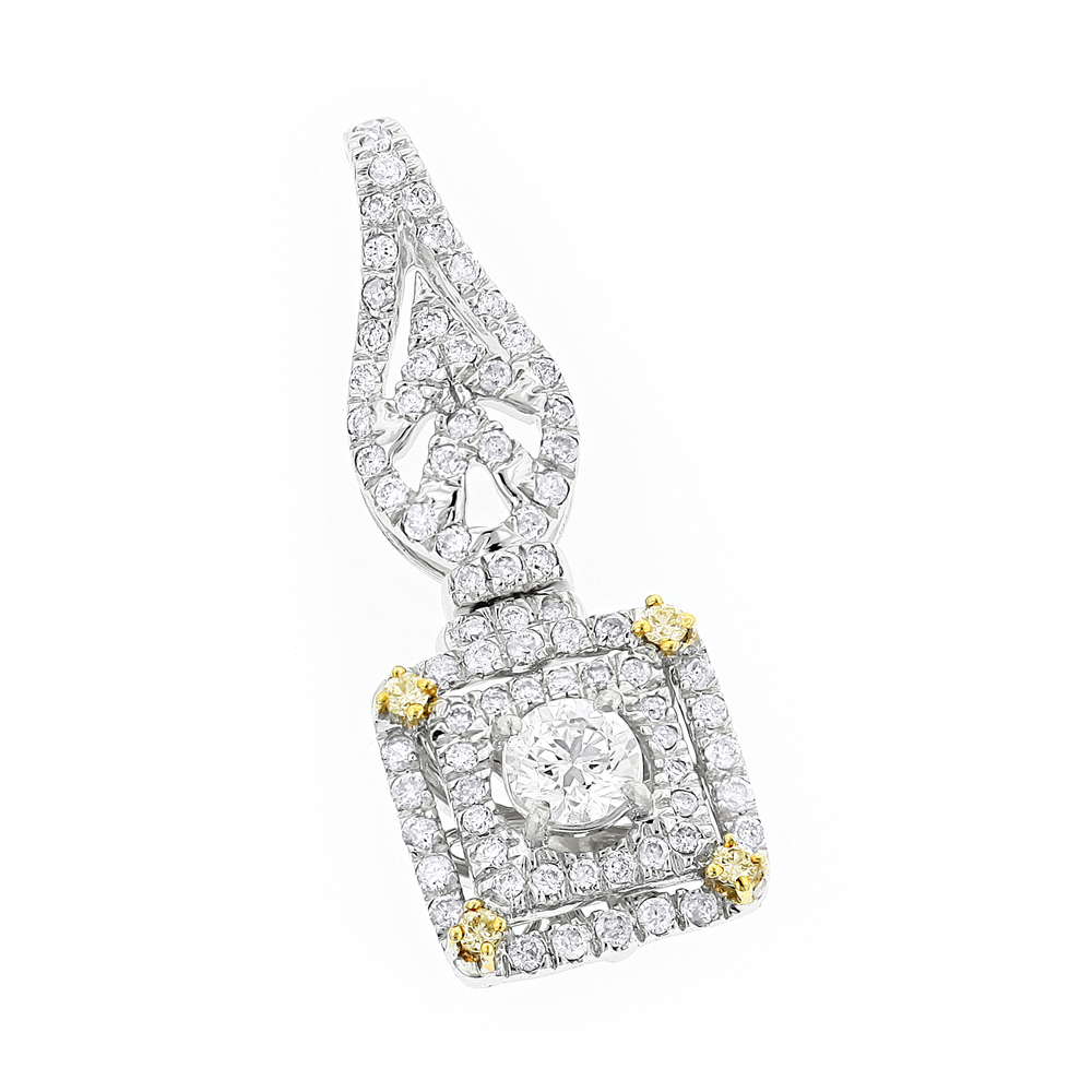 Designer Jewelry: Ladies White and Yellow Diamond Pendant 0.8ct 14K Gold