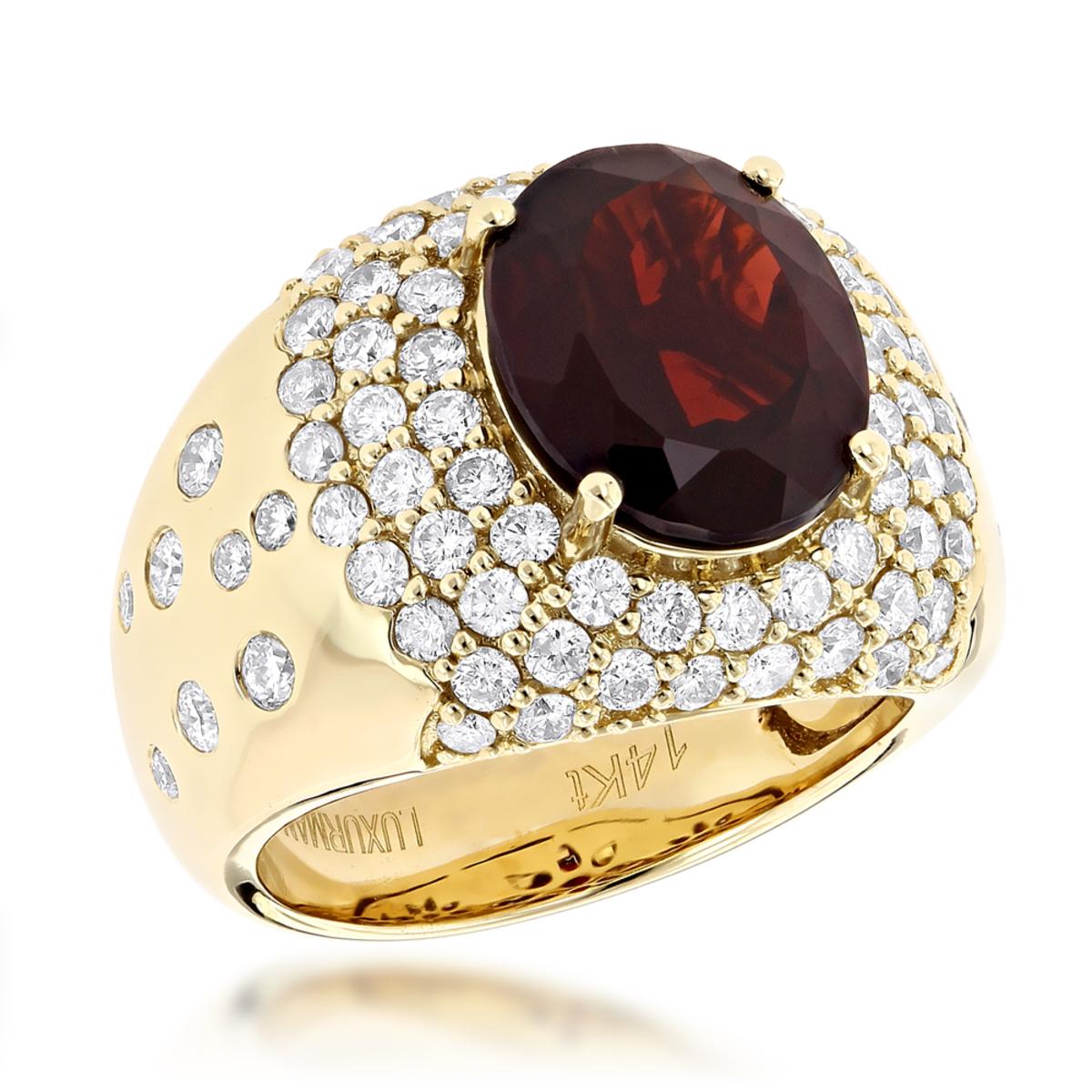 Designer Jewelry Luxurman Fashion Ladies Garnet Diamond Ring 14K Gold 2.3ct