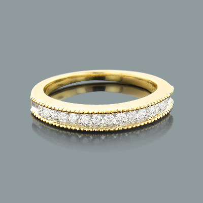 Thin Designer Ladies Diamond Wedding Band 0.29ct 14K Gold