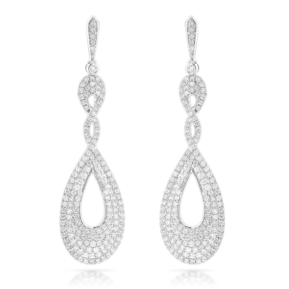 Designer Luxurman Diamond Drop Swirl Earrings for Women 3.5ct in 14k Gold