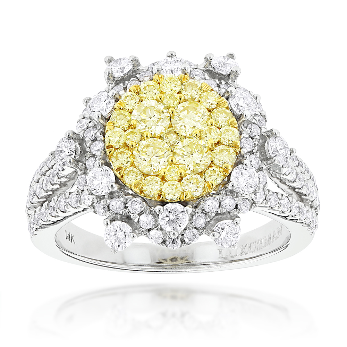 Designer Luxurman Ladies White Yellow Diamonds Flower Ring 2ct 14k Gold