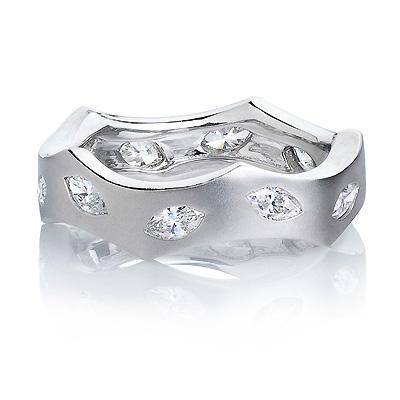 Designer Marquise Diamond Eternity Ring LUCCELLO 0.71ct 18K Gold