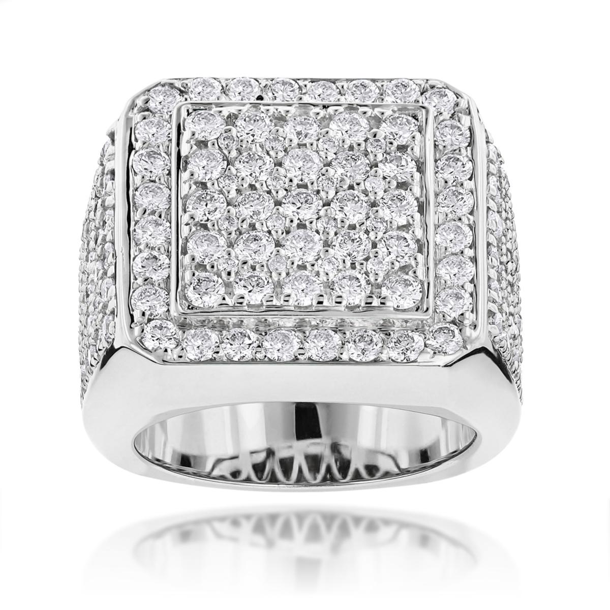 Designer Mens Diamond Ring 6ct 14k Gold