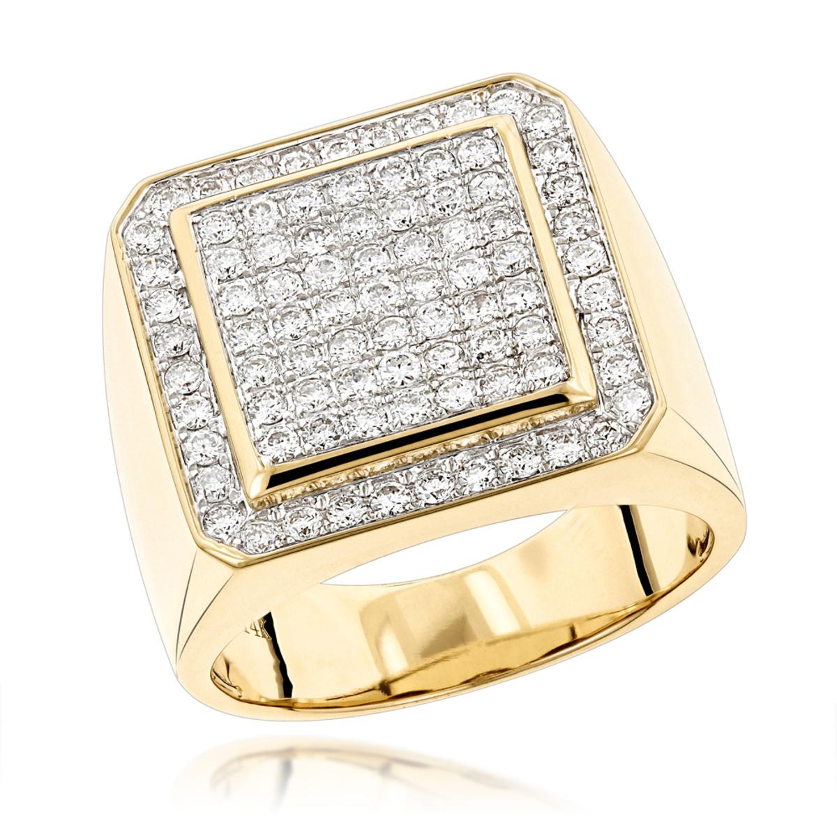 Designer Pinky Rings Mens Diamond Gold Ring by Luxurman 1.63ct 14K ...