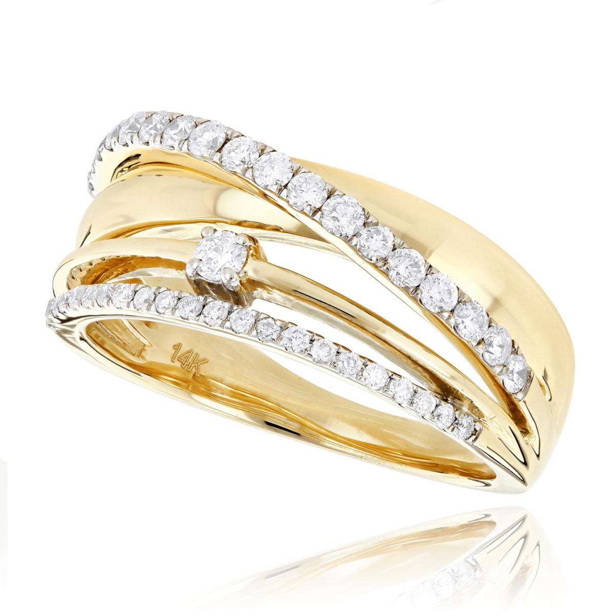 Designer Right Hand Diamond Ring for Women 0.55ct 14K Gold