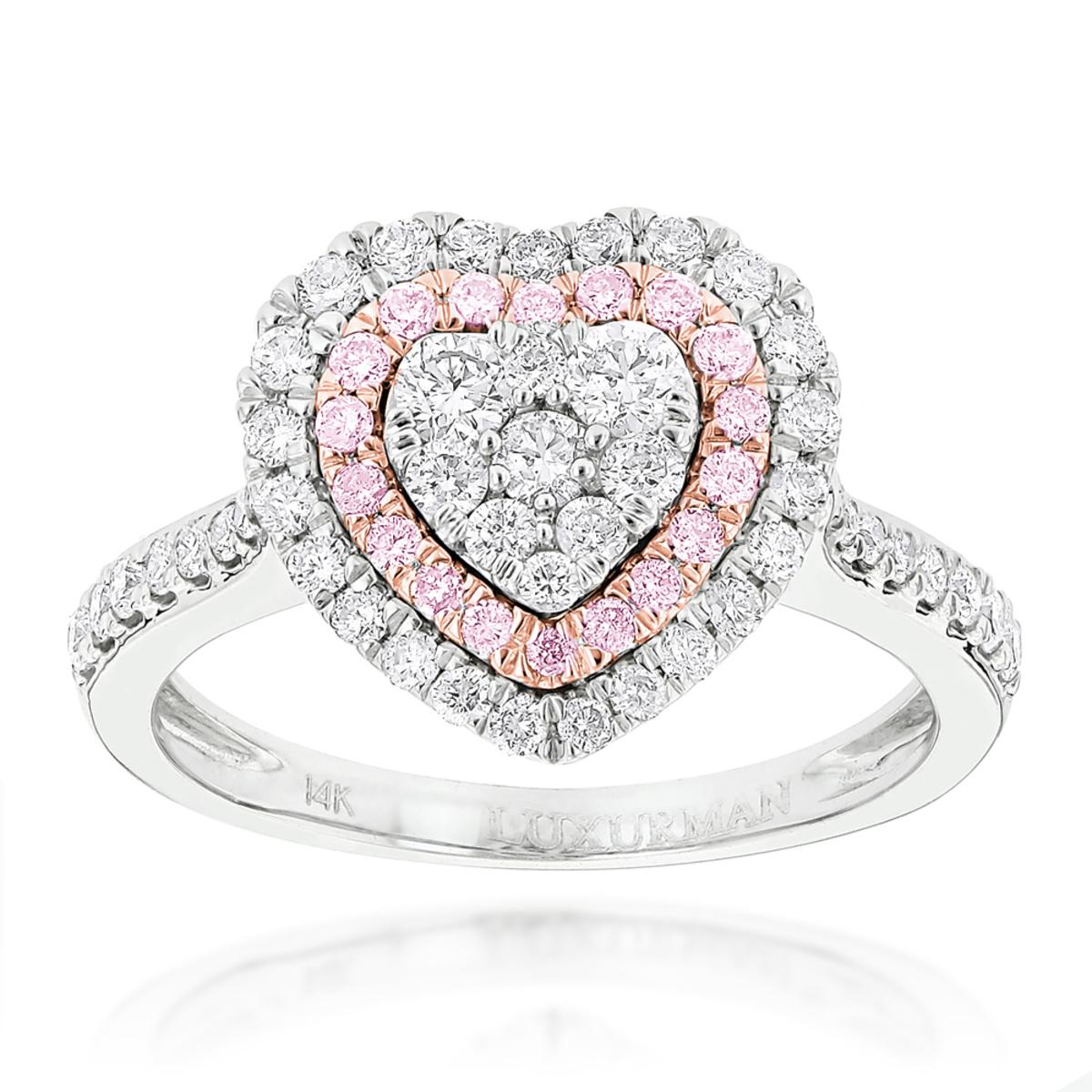 Designer Rings Unique White Pink Diamonds Heart Ring for Women 14k Gold 1ct