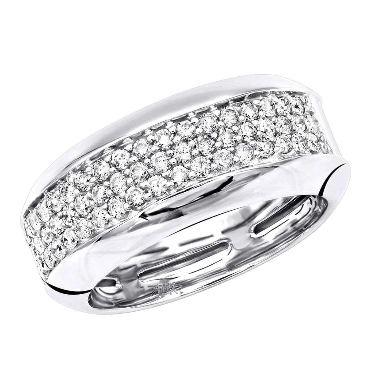 Wide 14k Gold Diamond Wedding Band For Women Anniversary Ring 0.8ct