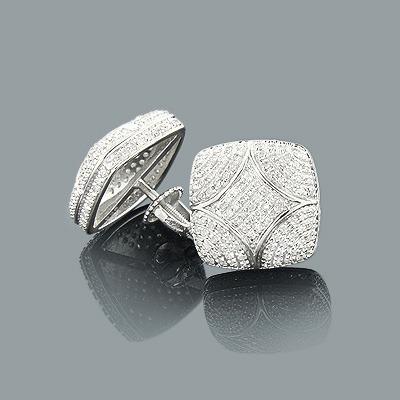 Designer Silver Earrings with Diamonds 0.6ct Pave Diamond Studs