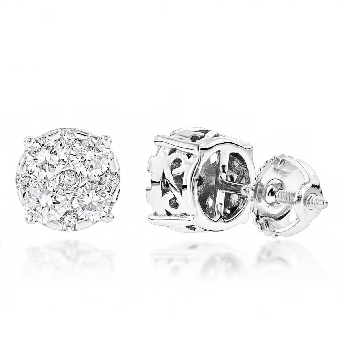 Designer Studs: Large Diamond Earrings 1.75ct 14K Gold