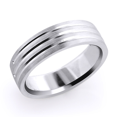 Designer Three Lines Solid Platinum Mens Wedding Band