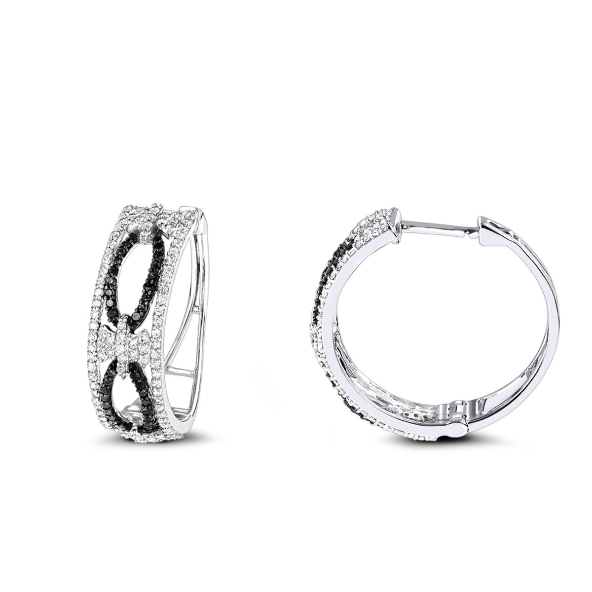Designer White Black Diamond Hoop Earrings 0.9 ct 14K