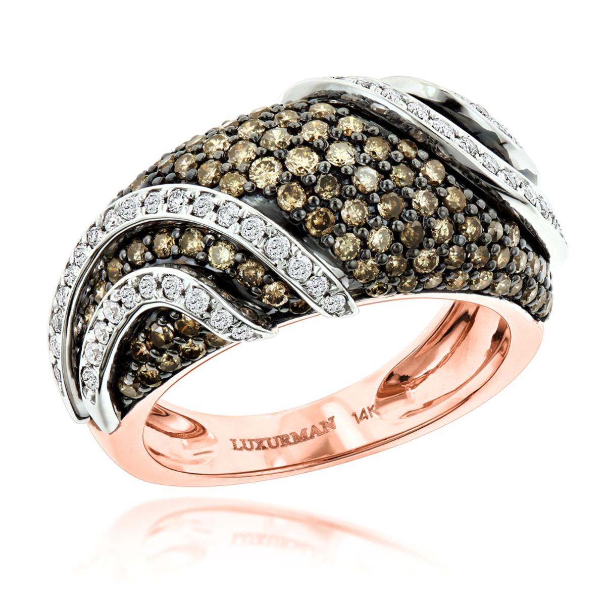 Designer White Brown Diamond Fashion Ring for Women by Luxurman 2ct