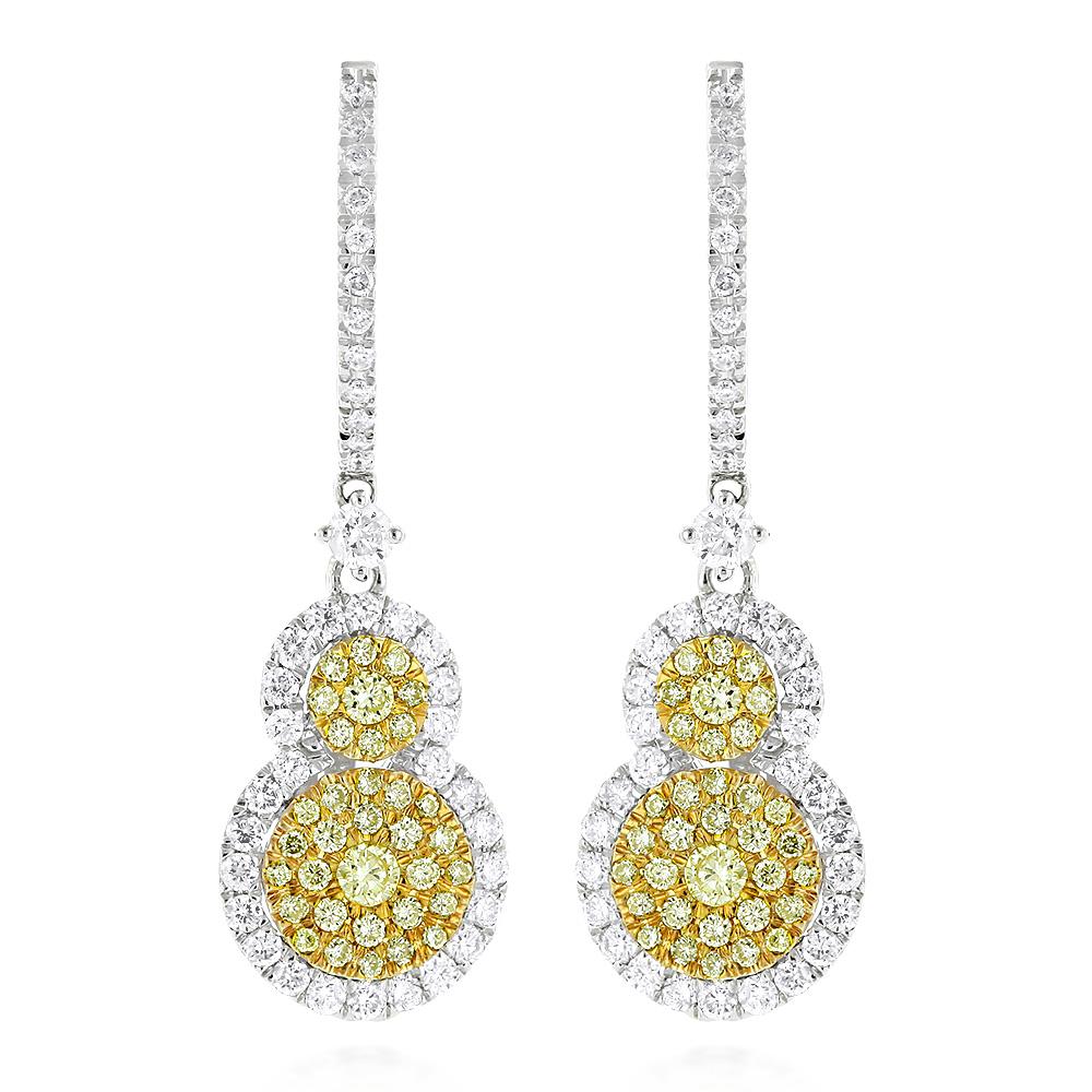 Designer White Yellow Diamond Drop Earrings for Women Circle Design 14K 2ct