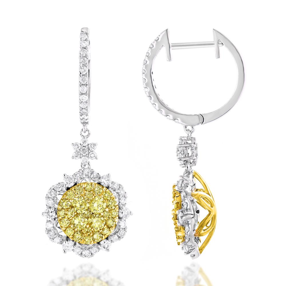 Designer White Yellow Diamond Flower Earrings Luxurman 2.5 Carat 14K Gold
