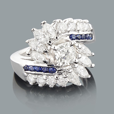 Unique Diamond and Sapphire Engagement Rings: 14K Gold Ring 2ct