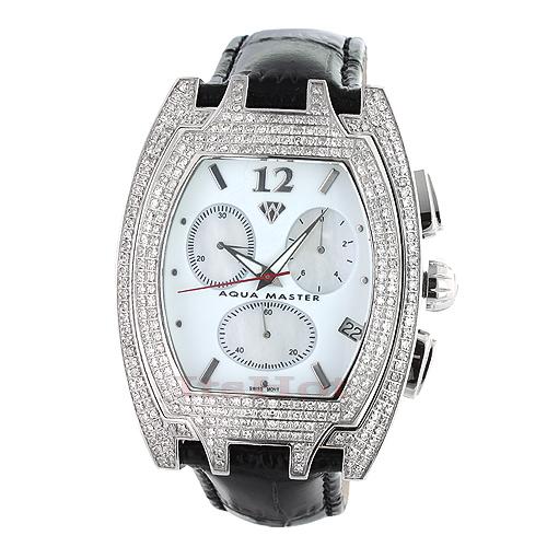 Diamond Aqua Master Watches! Mens Diamond Watch 3.5ct