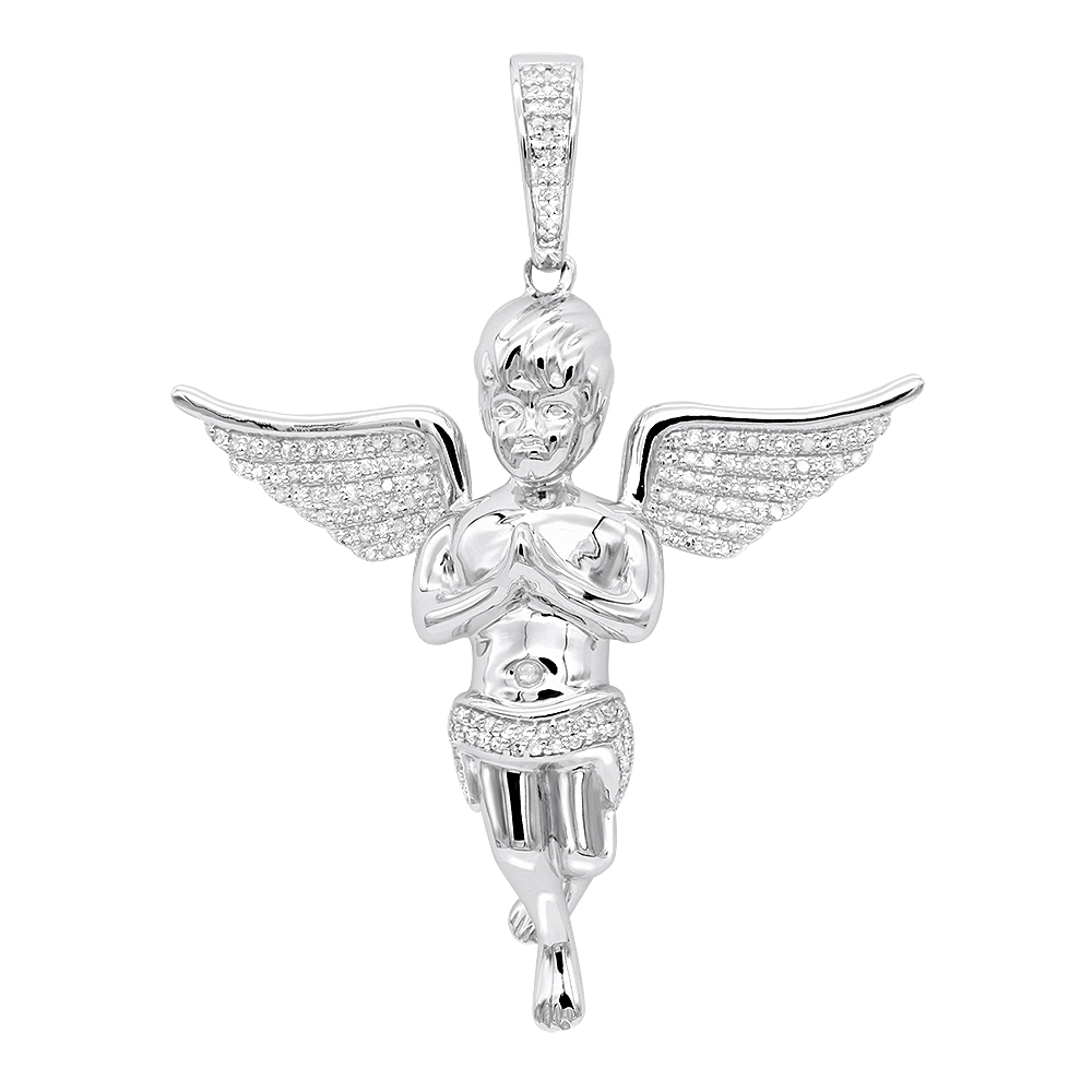 Diamond baby angel pendant for men in solid 10k gold by luxurman 05ct aloadofball Choice Image