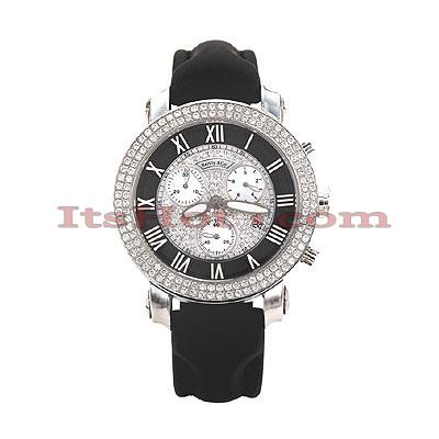 Diamond Benny Co Watch Ice Dial Watch 2.9ct Mens Black