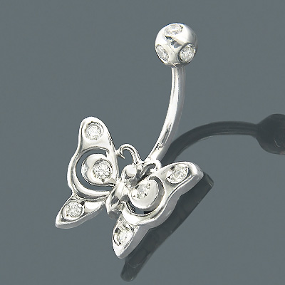 Diamond Body Jewelry 14K Diamond Butterfly Belly Ring