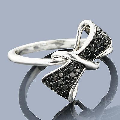 Diamond Bow Rings: Sterling Silver Black Diamond Ring