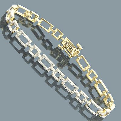 Diamond Bracelets 14K Yellow Gold Ladies Diamond Bracelet 1.67
