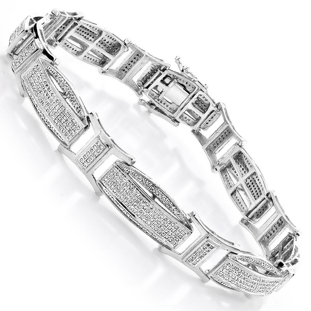 Diamond Bracelets Gold Mens Diamond Bracelet 2.41ct