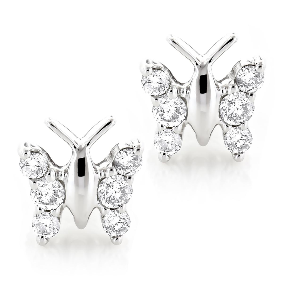 Ladies Diamond Butterfly Earrings Studs 1/2ct 14K Gold