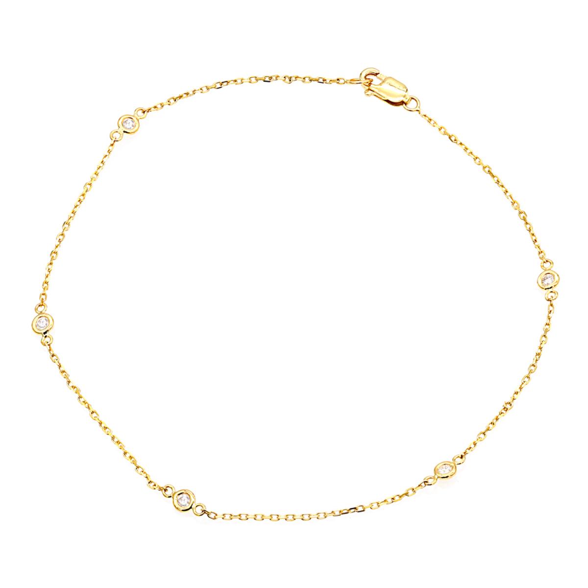 Diamond by the Yard Solid 14K Gold Ankle Bracelet with Diamonds by Luxurman