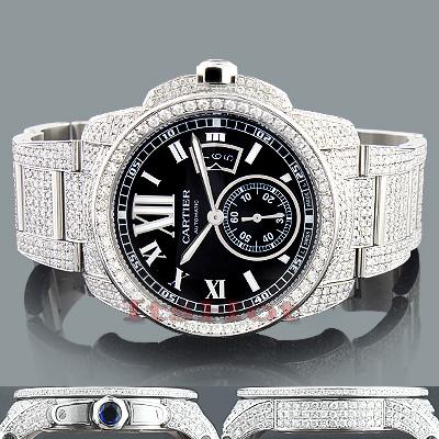 Diamond Cartier de Calibre Mens Watch 27ct Customized