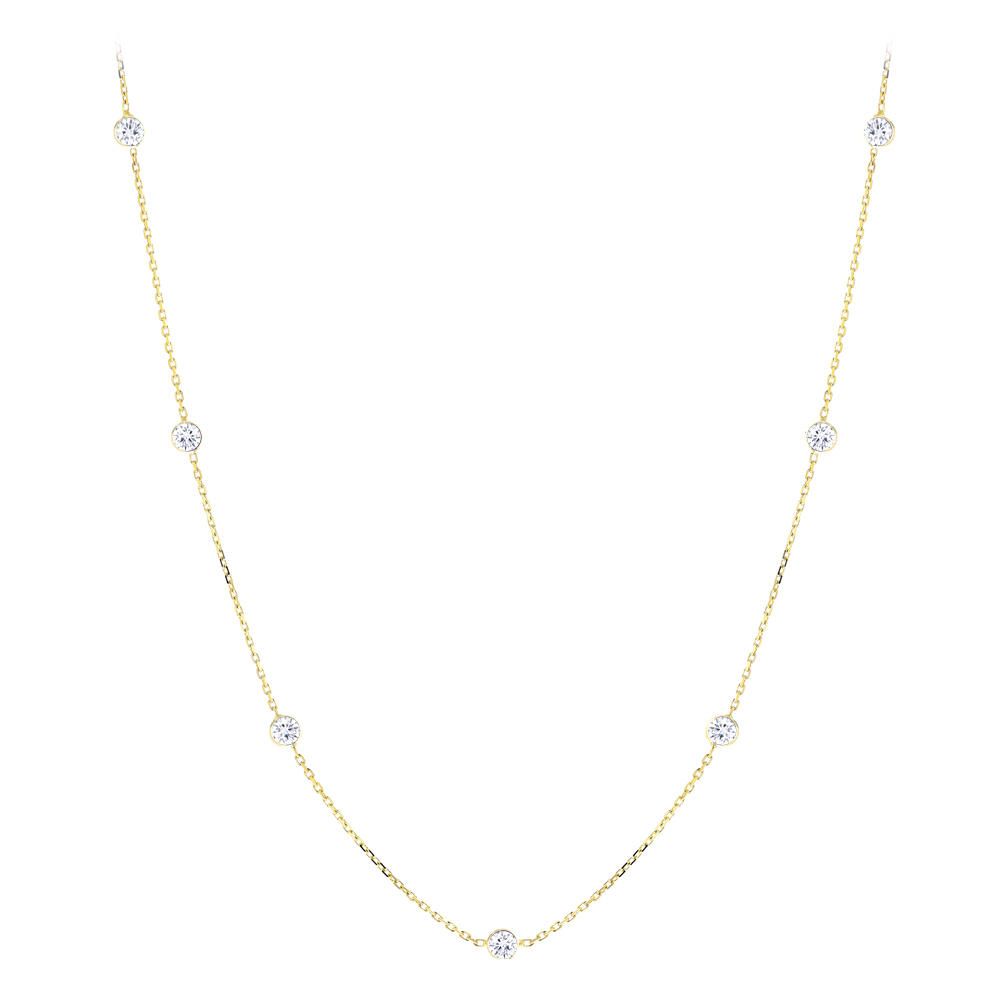 Diamond Chains: 14K Gold Diamonds By The Yard Necklace 0.7ct 16 inches
