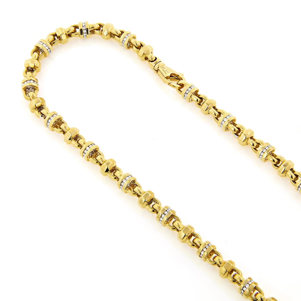 Diamond Chains: 14K Gold Diamond Necklace 4.15ct