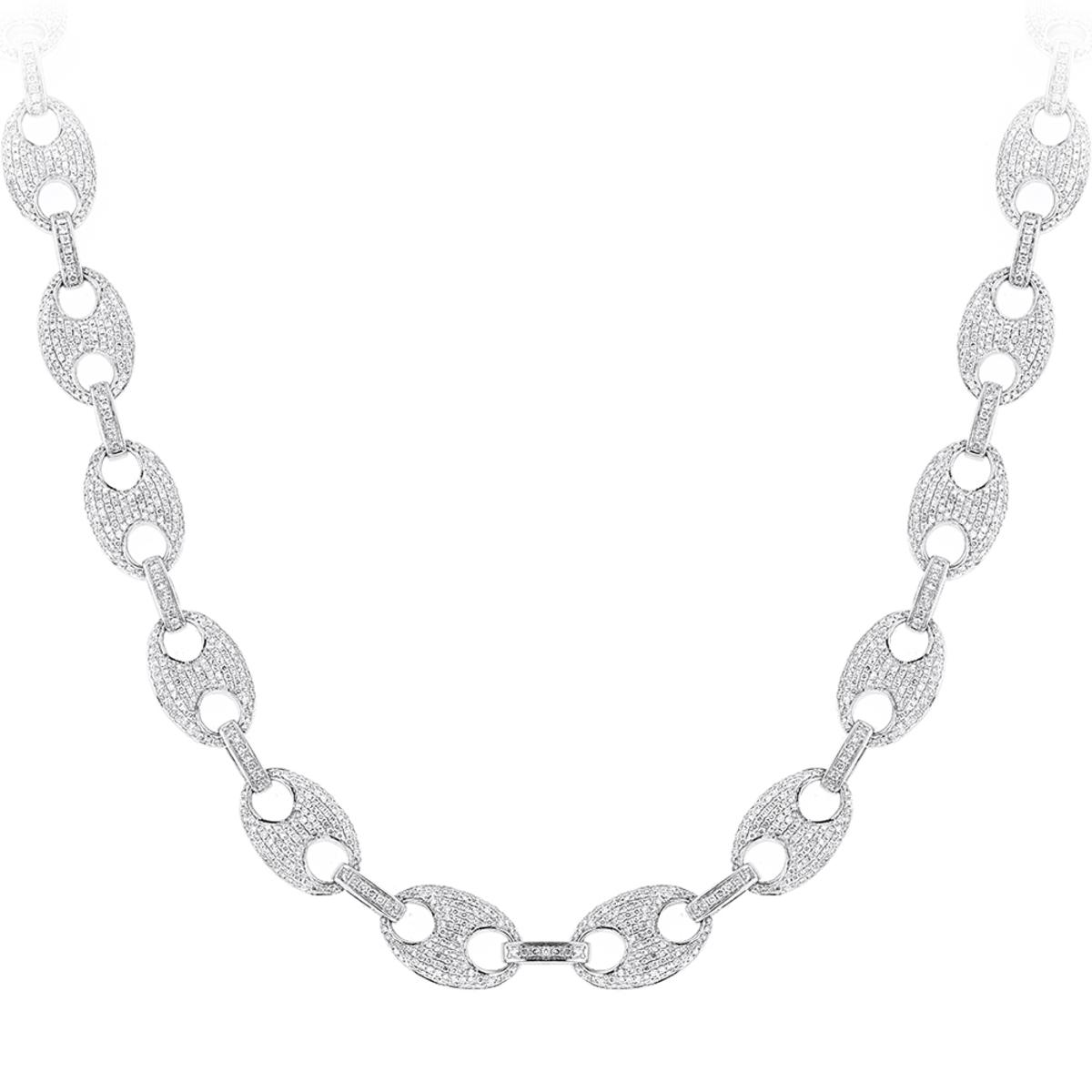 Diamond Chains 14K Gucci Link Diamond Necklace 24.52ct
