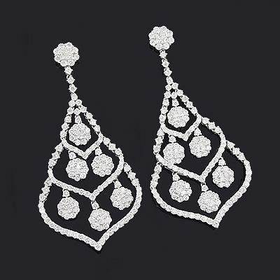 Diamond Chandelier Earrings 10.11ct 18K Gold