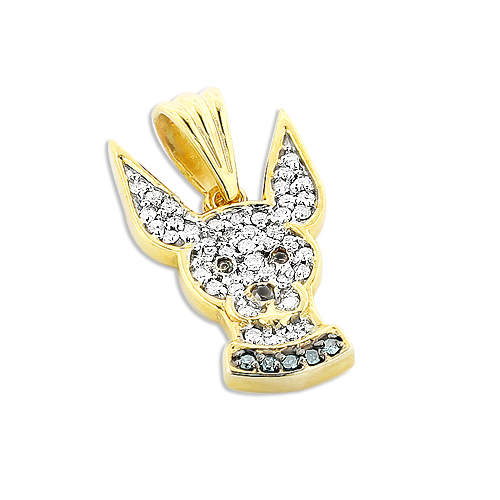 Diamond Chihuahua Pendant in 14K Gold Dog Jewelry for People