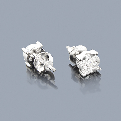 Diamond Cluster Earrings 0.52ct 14K Gold