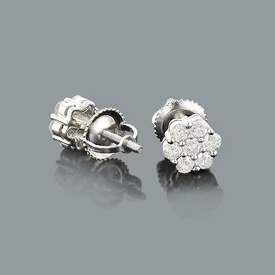 Diamond Cluster Earrings 0.6ct Sterling Silver Diamond Studs