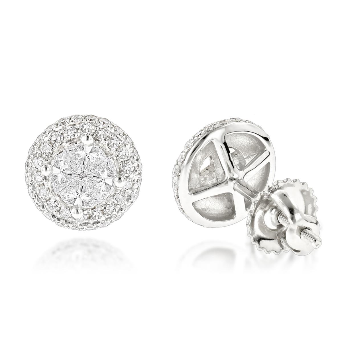 Halo Diamond Cluster Earrings 14K Gold Studs 1.25ct