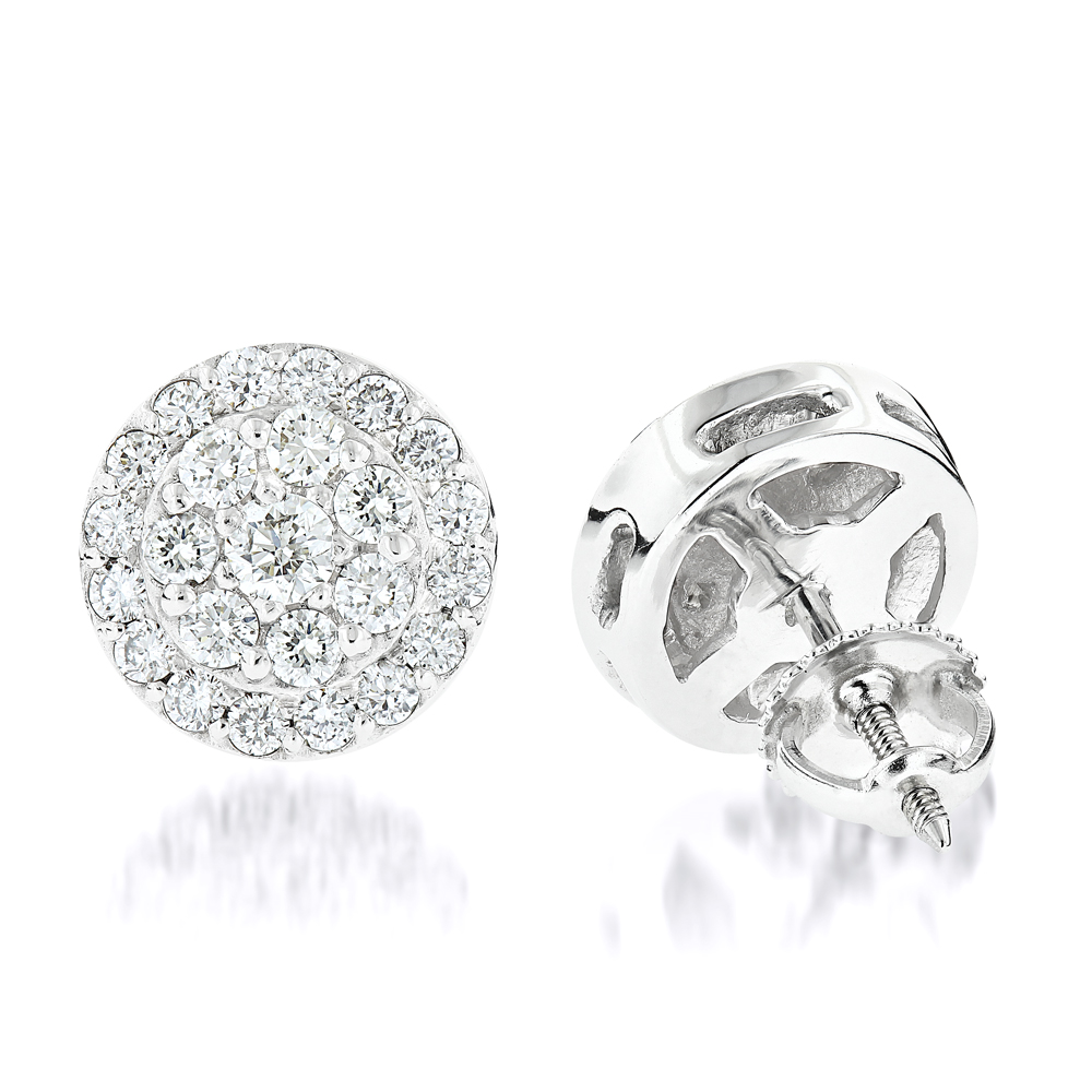Diamond Cluster Earrings Studs 14K Gold 1.75ct