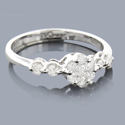 Diamond Cluster Engagement Ring 0.46ct 14K