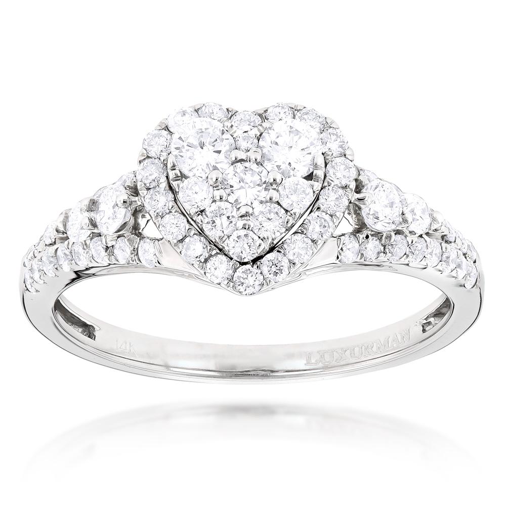 Diamond Cluster Heart Engagement Ring in 14k Gold 1ct G-H VS-SI Diamonds