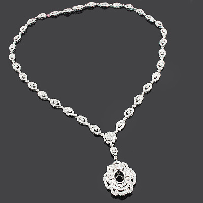 Diamond Cluster Semi Mount Necklace 10.77ct 18K Gold
