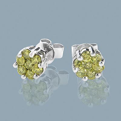 Diamond Clusters 14K Yellow Diamond Stud Earrings 1ct