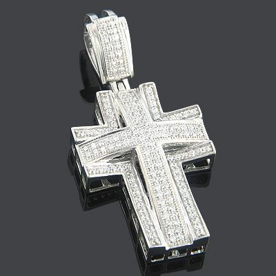 Diamond Cross Pendants 14K Gold Diamond Cross 0.57ct