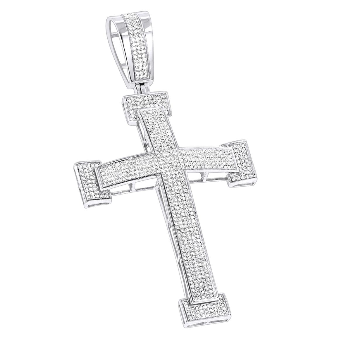 Diamond Crosses 14K Mens Diamond Cross Pendant 2 ct