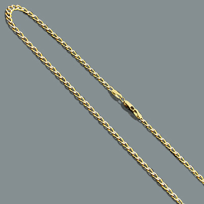 """Diamond Cut Curb Chain Necklace in 14K Gold 3.5mm 22"""""""